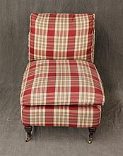 Lounge Chair, Red and White Plaid Upholstery on Toupie Feet and Casters, 33