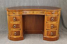 Kidney Shaped Desk, Veneered Mahogany with Inlay, Inset Leather Top, Three Drawers over Six Frieze Drawers, Open Shelving in Back on...