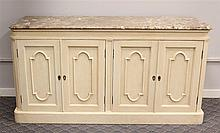 Sideboard, White Painted, Marble Top over Four Panel Doors Opening to Drawers and Shelving on a Plinth Base, 32