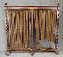 Dressing Screen, Walnut, Hand Painted Foliate Center Design with  Roped Columns, (Screen Fabric is Worn), 72