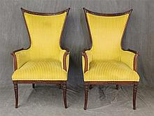 Pair of Empire Style Arm Chairs, Carved Mahogany Frame, Upswept Arms on Sabre Feet, 45