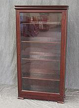 Bookcase, Mahogany, Glass Front Door Opening to Four Shelves, 58