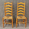 Pair of Ladderback Side Chairs, Hickory, Five Arched Slats with Rush Seats, 46