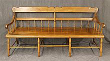 Late 18th Century Deacons Bench, Hickory, Half Spindles, Scrolled Arms on Turned Legs, 34