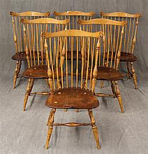 Set of 6 Authentic Rolf Hofer Ducksberry Style Windsor Side Chairs, Consists of Hickory and Ash, Saddle Seat with Turned Legs and Tu...