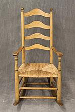 Ladderback Rocker, Hickory with Hints of Green Paint, Four Arched Splats with a Rush Seat and Double stretcher Base, 44