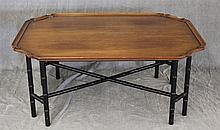 Kittinger Buffalo, Chinoiserie Tray Style Coffee Table with Faux Bamboo Legs and stretcher Base, 18