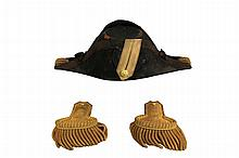 Cased US Naval Fore-aft Hat and Epaulettes