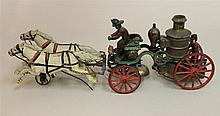 Ideal Cast Iron Horse Drawn Pumper Bell Toy; with articulated two horse team,  bell not functioning, 80% original paint