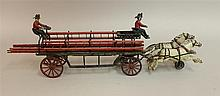 Ideal Cast Iron Horse Drawn Ladder Truck, with articulated two horse team; with 4 wooded ladders, 80% original paint