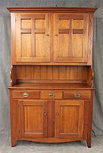 Century Furniture, Henry Ford Museum Reproduction, Wall Cupboard, Cherry, Step Back, Molded Cornice , Pie Shelf, Two Doors over Thre...