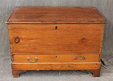 Blanket Chest, Pine, Two Interior and Two Exterior Drawers on Shaped Bracket Feet, 25