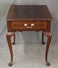Coucill Craftsman, Side Table, Mahogany with Inlay Trim on Top and Single Drawer, Scrlloed Apron, Cabroile Legs on Pad Feet, 24 1/2
