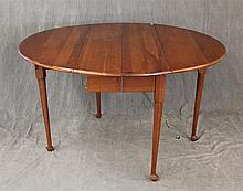 Dropleaf Breakfast Table, Cherry, Circular Top on Cabriole Legs and Pad Feet, 29 1/2