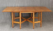 Mid-Century Modern Gateleg Table, Maple, Rectangular on Tapered Legs, 29