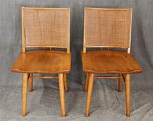 Pair of Mid-Century Modern Danish Side Chairs, Maple, Caned Back, Tapered Legs, H Stretcher, 33