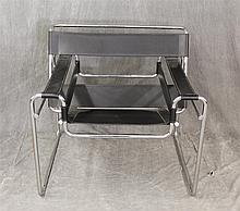 Wassily Chair, Black Leather on a Chrome Frame, 28 1/2