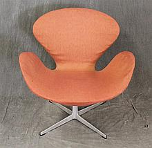 Fritz Hansen Mid-Century Modern Danish Arm Chair, Orange Upholstery, (Upholstery is Brittle), 32