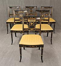 Set of 6 Chinoisere Side Chairs, Black Laquered, Table Crest, Pierced Splat, Foliate Designed Upholstery on Cabriole Legs, 34 1/2