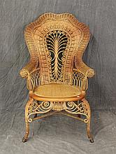Heywood Brothers-Wakefield, Victorian Armchair, Wicker, Scrolled Pierced Splat, Cane Seat, Scrolled Apron, Cabriole Legs and X Stret...