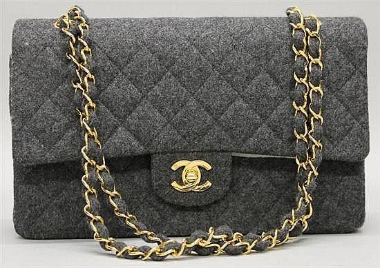 Chanel Grey Quilted Flannel Handbag