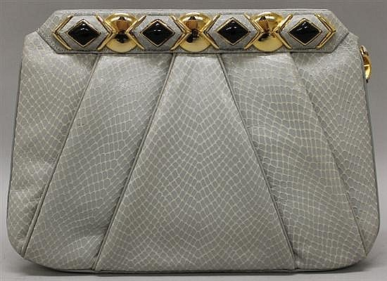 Judith Leiber Grey Leather Evening Bag