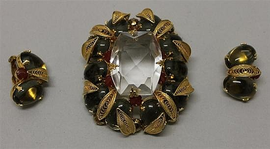 Schreiner New York Pin and Earrings Set