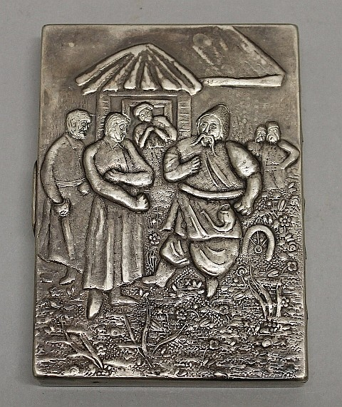 Figural Decorated Cigarette Case