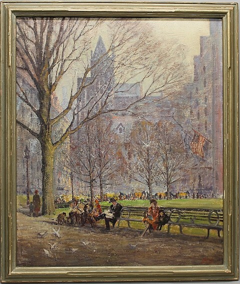 Dennis, Roger, 1902-1996, Connecticut, Sunny Morning in Central Park, New York. Oil on Canvas.