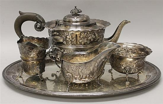 Sterling Silver Animalier Tea Set with Complimenting Serving Tray