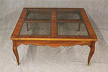 Glass Top Coffee Table, Cherry, Scrolled Apron with Ormolu Mounted Cabriole Legs, 16 1/2