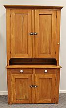 Dutch Cupboard, Pine, Blind Two Door Top over a Blind Two Door Base with Two Drawers, 83 1/2
