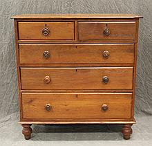 Country Sheraton Dresser, Pine, Two Small Drawers over Three Graduated Drawers, Turned Knobs and Feet, 44