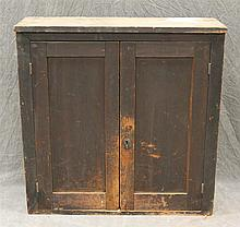 Hanging Cupboard / Cupboard Top, Pine with Brown Paint, Two Paneled Doors Opening to a Fitted Interior with Pigeon Holes, 38