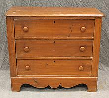 Miniature Chest of Drawers, Pine, Three Drawers, Shaped Frieze, 27 1/2H x 31