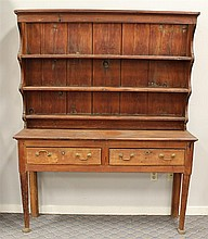 Pewter Cupboard, Pine, Scalloped Open Top with Three Shelves, over a Two Drawer Base on Turned Legs with Pad Feet, 73