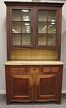 Dutch Cupboard, Pine with Remains of Origional Surface, 12 Lite Two Door Top with Pie Shelf over a Blind Two Door Base with Three Dr...