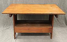 Settle Bench/Hutch Table, Pine, Hinged Three Board Top, over a Mortised Bench, 28