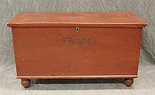 Blanket Chest, Poplar, Six Board Dovetailed Chest with Breadboard Ends, Painted Red with Stencil Decoration, Interior Till, 25