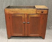 Diminutive Drysink, Pine with Remains of Red Paint, One Drawer over Two Doors, 33