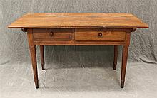 Farm Table, Pine, Removable Two Board Top over Two Drawers, Turned Tapered Legs, 30 1/2
