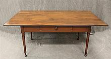 Harvest Table with Dropleaf, Pine, Single Drawer, Turned Tapered Legs, 30