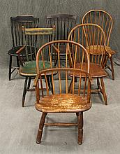 Assembled Set of 6 Windsor Chairs, Bent Back Continous Arm, Bent Back, Tavern, Comb Back, Remains of Green and Black Paint