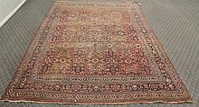 Meshed Persian Carpet, Floral and Red  Main Field, (Thread Worn) 14'6