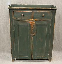 Jelly Cupboard, Pine with Green Paint, Two Drawers over Two Paneled Doors, Shaped Backsplash, 48