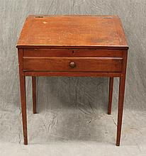 School Masters Desk, Slant Lid over a Single Drawer, Pine with Redwash, Tapered Leg Base, 37 1/2