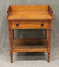 Wash Stand, Pine, Shaped Dovetailed Back Splash over One Drawer, Turned Tapered Leg Base with Stretcher, 33
