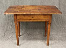 Work Table, Pine, One Board Top with Breadboard Ends, Single Drawer, Turned Tapered Leg Base, 27
