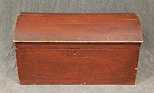 Domed Trunk, Pine Dovetailed Case, Redwash, 17 1/2