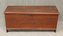 Diminutive Blanket Chest, Pine Six Board Chest with Redwash, Interior Till, Bootjack Feet, 15 1/2